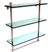Foxtrot Collection 16 Inch Triple Tiered Glass Shelf with Integrated Towel Bar, Polished Chrome