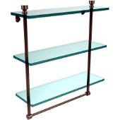 Foxtrot Collection 16 Inch Triple Tiered Glass Shelf with Integrated Towel Bar, Antique Pewter