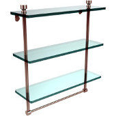 Foxtrot Collection 16 Inch Triple Tiered Glass Shelf with Integrated Towel Bar, Polished Nickel