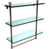 Foxtrot Collection 16 Inch Triple Tiered Glass Shelf with Integrated Towel Bar, Satin Nickel