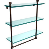 Foxtrot Collection 16 Inch Triple Tiered Glass Shelf with Integrated Towel Bar, Venetian Bronze