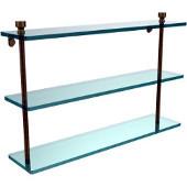 Foxtrot Collection 22'' Triple Glass Shelf, Premium Finish, Antique Brass