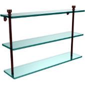 Foxtrot Collection 22'' Triple Glass Shelf, Premium Finish, Antique Copper