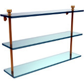 Foxtrot Collection 22 Inch Triple Tiered Glass Shelf, Unlacquered Brass