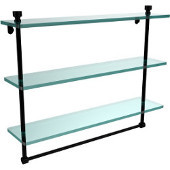 Foxtrot Collection 22 Inch Triple Tiered Glass Shelf with Integrated Towel Bar, Matte Black