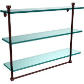 Foxtrot Collection 22 Inch Triple Tiered Glass Shelf with Integrated Towel Bar, Antique Copper