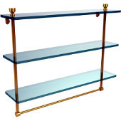Foxtrot Collection 22 Inch Triple Tiered Glass Shelf with Integrated Towel Bar, Polished Brass