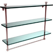 Foxtrot Collection 22 Inch Triple Tiered Glass Shelf with Integrated Towel Bar, Polished Chrome