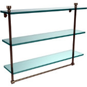 Foxtrot Collection 22 Inch Triple Tiered Glass Shelf with Integrated Towel Bar, Antique Pewter