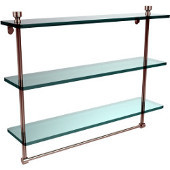 Foxtrot Collection 22 Inch Triple Tiered Glass Shelf with Integrated Towel Bar, Polished Nickel
