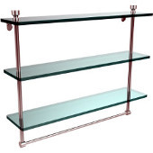Foxtrot Collection 22 Inch Triple Tiered Glass Shelf with Integrated Towel Bar, Satin Chrome