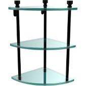 Foxtrot Collection Three Tier Corner Glass Shelf, Matte Black