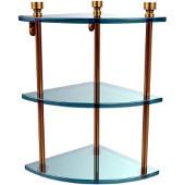 Foxtrot Collection Triple Corner Glass Shelf, Standard Finish, Polished Brass