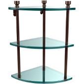 Foxtrot Collection Triple Corner Glass Shelf, Premium Finish, Antique Pewter