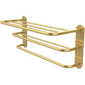 Three Tier Hotel Style Towel Shelf with Drying Rack, Unlacquered Brass