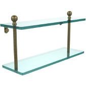 Mambo Collection 16'' Double Glass Shelf, Premium Finish, Antique Brass