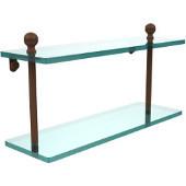 Mambo Collection 16'' Double Glass Shelf, Premium Finish, Rustic Bronze