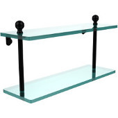 Mambo Collection 16 Inch Two Tiered Glass Shelf, Matte Black