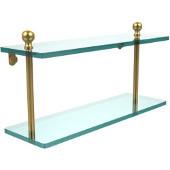 Mambo Collection 16'' Double Glass Shelf, Standard Finish, Polished Brass