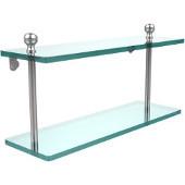 Mambo Collection 16'' Double Glass Shelf, Standard Finish, Polished Chrome