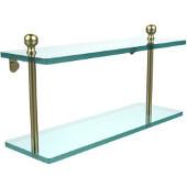 Mambo Collection 16'' Double Glass Shelf, Premium Finish, Satin Brass