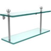 Mambo Collection 16'' Double Glass Shelf, Premium Finish, Satin Chrome