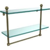 Mambo Collection 16'' Double Glass Shelf w/Towel Bar, Premium Finish, Antique Brass
