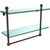 Mambo Collection 16'' Double Glass Shelf w/Towel Bar, Premium Finish, Rustic Bronze