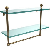 Mambo Collection 16'' Double Glass Shelf w/Towel Bar, Premium Finish, Brushed Bronze