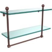 Mambo Collection 16'' Double Glass Shelf w/Towel Bar, Premium Finish, Antique Copper