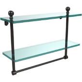 Mambo Collection 16'' Double Glass Shelf w/Towel Bar, Premium Finish, Oil Rubbed Bronze