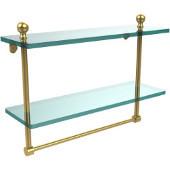 Mambo Collection 16'' Double Glass Shelf w/Towel Bar, Standard Finish, Polished Brass