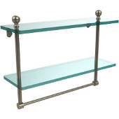 Mambo Collection 16'' Double Glass Shelf w/Towel Bar, Premium Finish, Antique Pewter