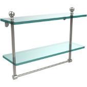 Mambo Collection 16'' Double Glass Shelf w/Towel Bar, Premium Finish, Polished Nickel