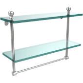 Mambo Collection 16'' Double Glass Shelf w/Towel Bar, Premium Finish, Satin Chrome