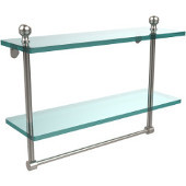 Mambo Collection 16'' Double Glass Shelf w/Towel Bar, Premium Finish, Satin Nickel