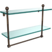 Mambo Collection 16'' Double Glass Shelf w/Towel Bar, Premium Finish, Venetian Bronze
