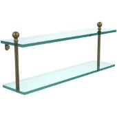 Mambo Collection 22'' Double Glass Shelf, Premium Finish, Antique Brass