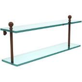 Mambo Collection 22'' Double Glass Shelf, Premium Finish, Rustic Bronze