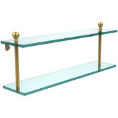 Mambo Collection 22 Inch Two Tiered Glass Shelf, Unlacquered Brass