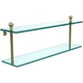 Mambo Collection 22'' Double Glass Shelf, Premium Finish, Satin Brass