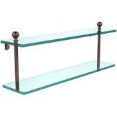 Mambo Collection 22'' Double Glass Shelf, Premium Finish, Venetian Bronze
