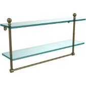 Mambo Collection 22'' Double Glass Shelf w/Towel Bar, Premium Finish, Antique Brass