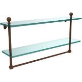Mambo Collection 22'' Double Glass Shelf w/Towel Bar, Premium Finish, Rustic Bronze