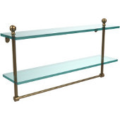 Mambo Collection 22'' Double Glass Shelf w/Towel Bar, Premium Finish, Brushed Bronze