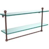 Mambo Collection 22'' Double Glass Shelf w/Towel Bar, Premium Finish, Antique Copper