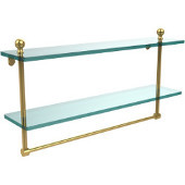 Mambo Collection 22'' Double Glass Shelf w/Towel Bar, Standard Finish, Polished Brass
