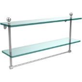 Mambo Collection 22'' Double Glass Shelf w/Towel Bar, Standard Finish, Polished Chrome