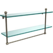 Mambo Collection 22'' Double Glass Shelf w/Towel Bar, Premium Finish, Antique Pewter