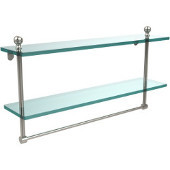 Mambo Collection 22'' Double Glass Shelf w/Towel Bar, Premium Finish, Polished Nickel